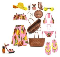 """""""Pineapples"""" by tlpollard ❤ liked on Polyvore featuring J.Crew, Dolce&Gabbana, Milani, Ciaté, Jennifer Fisher and Laura Mercier"""