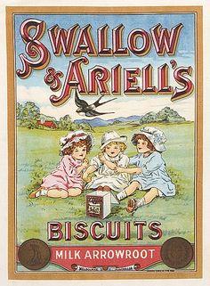 "c1890 ""SWALLOW & ARIELL'S BISCUITS ad Design Vintage Labels, Vintage Ads, Vintage Images, Vintage Posters, Advertising Pictures, Retro Advertising, Vintage Advertisements, Tea Labels, Australian Vintage"