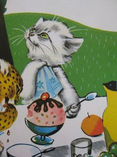 May 10 Vintage Book Caroline's Party 281 Vintage Cat, Vintage Children's Books, Super Cute Cats, Gatos Cats, Medieval, Vintage Birthday, Children's Book Illustration, So Little Time, Crazy Cats