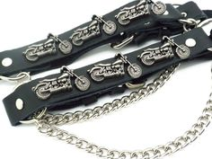 Motorcycle Leather Biker Unisex Boot Straps W Chain Buckle Women's Men PAIR #Unbranded #Motorcycle