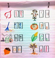 practicing beginning and end sounds with fall words