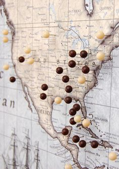 World Travel Map Pin Board w/Push Pins - Rustic Vintage