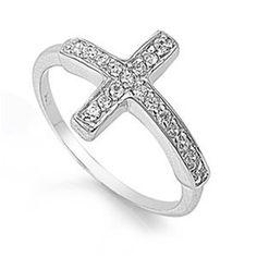BESTSELLER! Sterling Silver Sideways Cross Ring w... $7.95