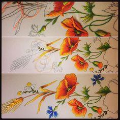 Maczki....krokPoKroku#haft#haft#handemade#embroidery#DMC#poppy#rękodzieło#mulina#handembroidery