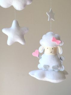 Baby mobile Clouds Mobile Baby mobile sheep by lovefeltmobiles
