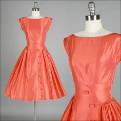 Vintage 1950s Dress . Burnt Orange . Silk . Pleated Full Skirt . Sleeveless . XS/S . 1819