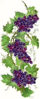 Grapes via /PurpleIsWho Fruit Painting, One Stroke Painting, China Painting, Tole Painting, Fabric Painting, Painting & Drawing, L'art Du Fruit, Fruit Art, Fruit Cakes