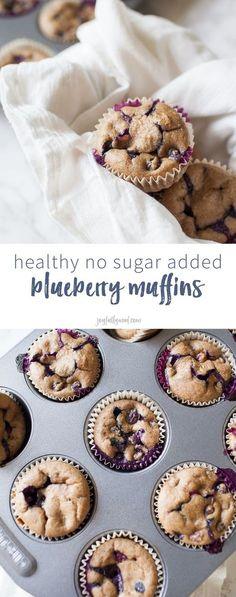 Looking for a healthy treat that can be served to adults and children alike? These healthy no sugar added blueberry muffins are the perfect treat because they are sweetened naturally with dates, instead of added sugar and can be quickly thrown together us