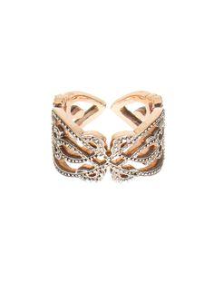 Sabine G pink gold and white diamonds Heart phalanx ring