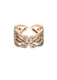 Sabine G pink gold and white diamonds Heart phalanx ring