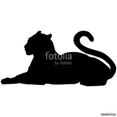 Vector silhouette of a black panther or lioness