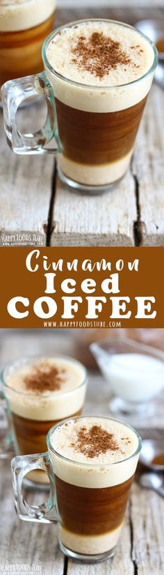 This cinnamon iced instant coffee is a refreshing & energizing summer drink. A layer of milk, followed by iced coffee and thick foam is finished off with cinnamon sugar. How to make iced coffee with instant coffee via @happyfoodstube