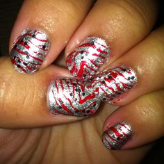 Christmas 2011 Nails: Red & Silver Zebra with Glitter top coat.