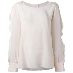 See By Chloé ruffle sleeved blouse (1.150 RON) ❤ liked on Polyvore featuring tops, blouses, pink, silk blouse, pink silk blouse, see through tops, sheer tops and transparent blouse