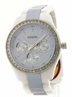 Fossil Women's ES2803 Two-Tone Plastic Watch Fossil. $89.41. Day and date. Two-tone plastic band. Water-resistant to 50 M (165 feet). Luminous hands. Crystals