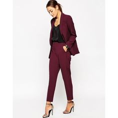 ASOS Premium Clean Tailored Pant ($69) ❤ liked on Polyvore featuring pants, capris, wine, asos pants, asos trousers, woven pants, white trousers and slim fit trousers
