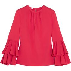 Oscar de la Renta Ruffled stretch-silk top found on Polyvore featuring tops, blouses, shirred top, red ruffle blouse, frill blouse, frilled blouse and ruched blouse