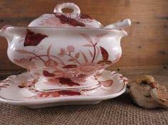 Vintage China Sauce/ Gravy Boat with Under plate and by WrensAttic