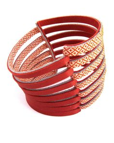 Rust multi colored bracelet two tone, Genuine Italian leather cuff bracelet for woman