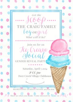 Ice cream social gender reveal party!