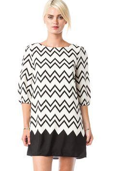 Wakeland Shift Dress in Black / ShopSosie #Black #White #Shift #Chevron #Print #Dress #ShopSosie