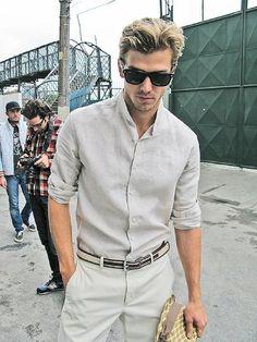 Grey linen for him.
