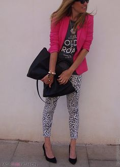 Animal print leggings, hot pink blazer