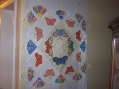 on my flannel wall - a mixture of new and vintage quilt blocks