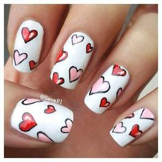 Black - Pink - Red - White - Hearts - Nail design
