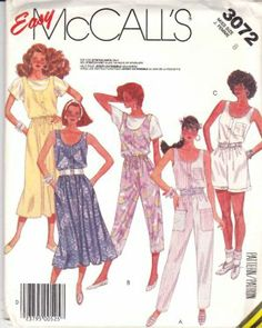 McCall's Sewing Pattern 3072 Misses Size 8 Easy Dress Jumper Jumpsuit Romper Knit Top