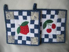 Apple and Cherries Quilted Potholders  Set of by KraftyGrannysHome