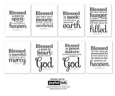 All 8 Beatitudes in Black & White. Eight instant downloads in one listing. Entire Series Matthew 5:3-10. Jesus's Sermon on the Mount.
