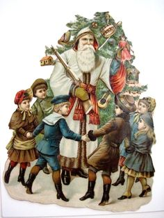 Antique Victorian Vintage Christmas Die Cut of Santa w/ Many Children & Toys *