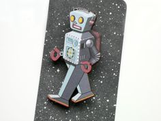 Robot Brooch Wooden Sci Fi Pin - Silver Grey Retro Tin Toy Jewelry