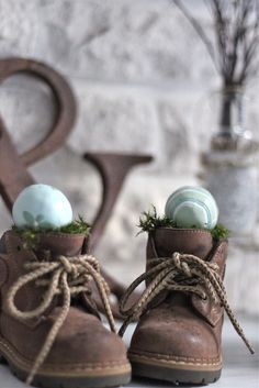child's vintage shoes with easter eggs (I love baby shoes)