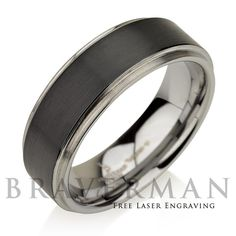 Tungsten Wedding Band Tungsten Band Black by BravermanOren on Etsy