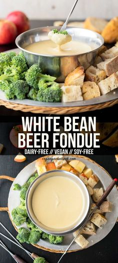 White bean beer fondue makes for a fun appetizer to be shared among friends, make it non alcoholic. whether for a dinner party or a game night! This creamy, low-fat, fondue is a delicious crowd-pleaser, especially with its beer-tinged aroma. Vegan Foods, Vegan Snacks, Vegan Dishes, Vegan Apps, Paleo Diet, Vegan Appetizers, Appetizer Recipes, Whole Food Recipes, Cooking Recipes