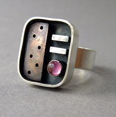 Thomasin Durgin, ring, sterling silver, copper, tourmaline