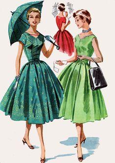50s Border Prints Sleeveless Dress w/ V-Neck V-Back by sandritocat