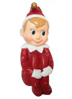 Add a little merriment to any tabletop or mantel with this cherubic pixie dressed in holiday red. Elf On The Shelf, Pixie, Invitations, Statue, Christmas Ornaments, Antiques, Holiday Decor, Red, Collection
