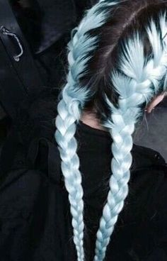 Pastel hair AND braids! Pastel hair AND braids! Hair Dye Colors, Cool Hair Color, Pastel Hair Colors, Pastel Rainbow Hair, Pastel Blue Hair, Light Blue Hair, Hair Color Blue, Hair Goals Color, Blue Grey Hair