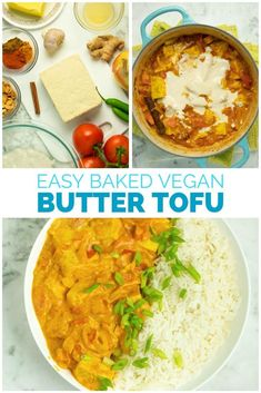 Creamy, deeply-seasoned vegan butter chicken is a snap to make in the oven! This flavorful tofu dish is a total crowd-pleaser.  #veganbutterchicken #buttertofu #recipe #sauce #easy #tofu Vegan Lunches, Vegan Snacks, Vegan Desserts, Best Vegan Recipes, Dairy Free Recipes, Healthy Recipes, Tofu Dishes, Vegan Dishes, Vegan Butter Chicken