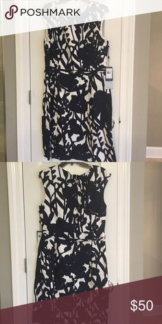 Dress Beautiful black and white sleeveless dress with belt Adrianna Papell Dresses