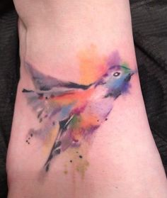 Water color humming bird tattoo by Your Mom's Tattoo Atelier.  I love this!