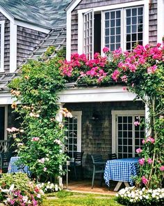 """Stacey Bewkes on Instagram: """"Starving and dreaming about when I can have lunch outside at my favorite island spot! @chanticleernantucket #cantcomesoonenough…"""" French Country, The Outsiders, House Design, Island, Canning, My Favorite Things, Cottages, Plants, Gardens"""