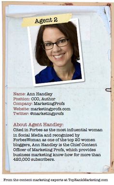 Bio for Secret Agent #2 @marketingprofs  to see her content marketing secret visit tprk.us/cmsecrets