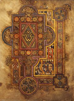The Book of Kells is an illuminated manuscript Gospel book in Latin, containing the four Gospels of the New Testament together with various. Book Of Kells, Book In Latin, The Book, Celtic Patterns, Celtic Designs, Medieval Manuscript, Medieval Art, Illuminated Letters, Illuminated Manuscript