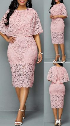 Half Sleeve Overlay Embellished Lace DressYou can find Lace dresses and more on our website. Latest African Fashion Dresses, African Dresses For Women, Ladies Fashion Dresses, African Wear For Ladies, African Evening Dresses, Latest Fashion, Elegant Dresses, Pretty Dresses, Sexy Dresses