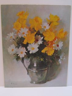 Daisy Flowers Still Life on Mat Board by Colao titled Daisies by VKVDesigns on Etsy