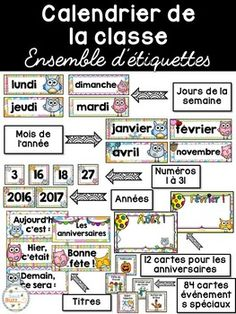 Ensemble d'étiquettes pour la classe- Hiboux -French Class Document, French Stuff, Classroom, School, Projects, Days Of Week, Primary Classroom, Classroom Management, Event Posters